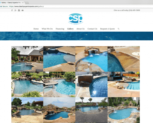 Clearly Superior Pools Website Design Gallery Page